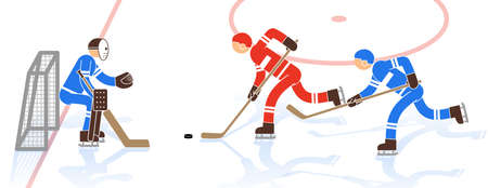 Scene of a hockey match - a striker with a puck approaches the goal, the defender interferes with it. Pictogrampeople.