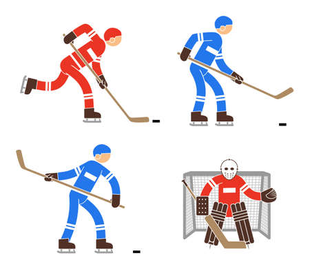 Simple color hockey player and goalkeeper icon. Pictogram people. Illustration