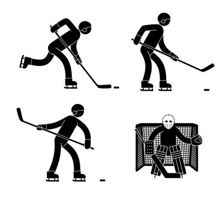 Pictogram man is a hockey player and goalkeeper in various poses.