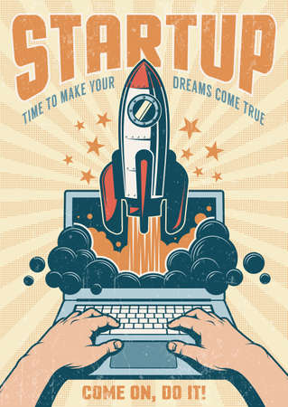 Vintage startup poster with rocket taking off from an open laptop. Grunge worn texture on separate layer. Иллюстрация