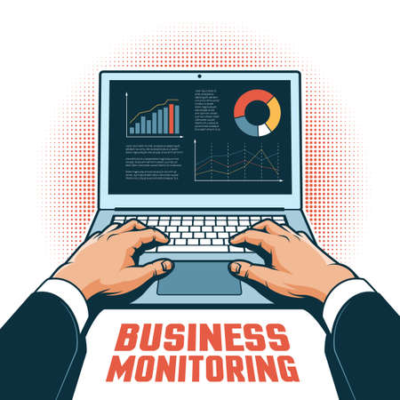 Hands of a businessman with a laptop track financial performance on the screen. Vector illustration in retro style. Banque d'images - 116631627