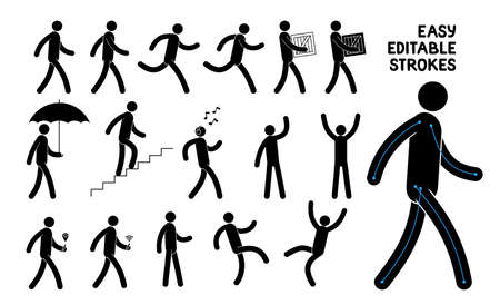 Easily editable pictogram man. Saved stroke. Set of basic poses icons people.