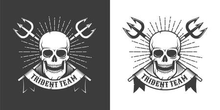 Pirate sea emblem with skull and crossed tridents Ilustracja