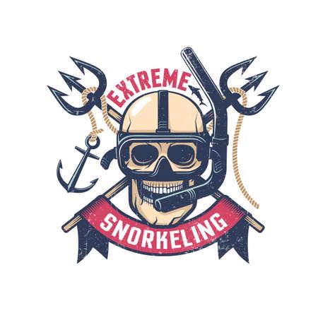 Extreme diving retro emblem