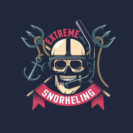 Vintage diving emblem  with skull in a mask and snorkel