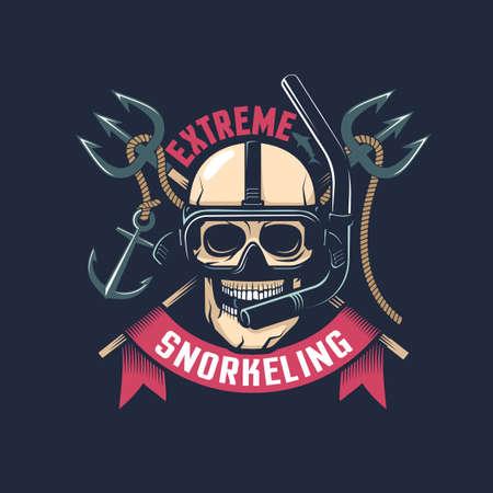 Vintage emblemat nurkowania z czaszką w masce i fajką Ilustracje wektorowe