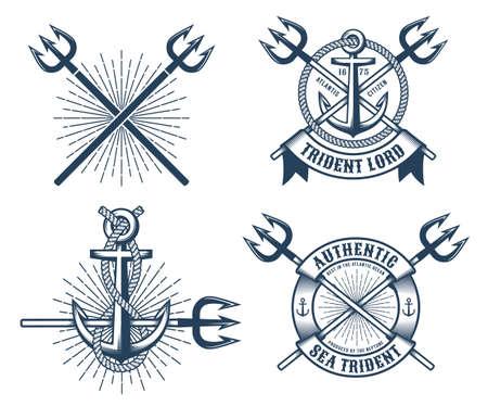Logotipos de tatuajes vintage hipster azul marino con cintas de tridentes y anclas