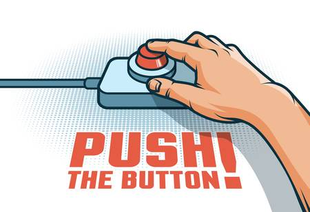 Hand push the red button with  finger