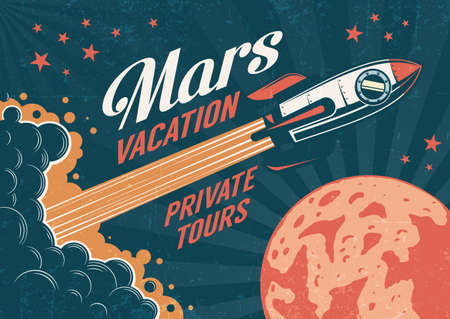 Cartel vintage - cohete vuela al planeta Marte. Textura gastada en una capa separada.