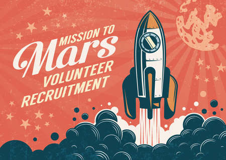 Mission to Mars - poster in retro vintage style with rocket taking off. Worn texture on a separate layer. Reklamní fotografie - 116631631