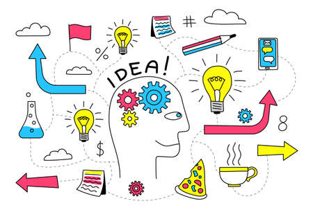 Creative Idea in the head of a person is abstract doodle flowchart with various icons. Vector illustration.