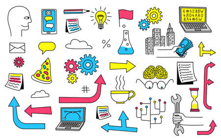 Doodle icons for illustration of workflow business plan. Vector illustration. Illustration