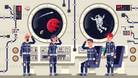 Astronauts are men and women aboard a spacecraft. The interior of the interstellar spaceship. Vector illustration Иллюстрация