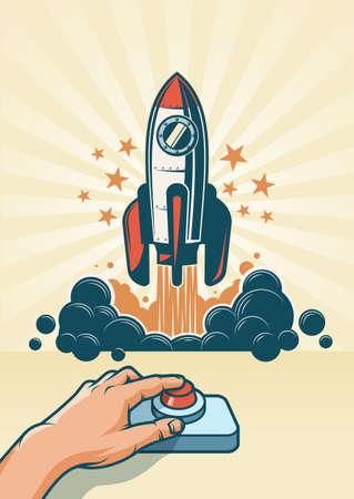 The hand presses the button and the rocket starts. Spaceship launch. Vector illustration in retro style.