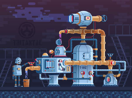 Steampunk fantastic intricate industrial machine with pipes, wires, tanks and control panels. The complex of metal parts of devices is controlled by a robot. Vector flat illustration.