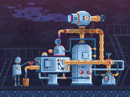 Steampunk fantastica macchina industriale intricata con tubi, cavi, serbatoi e pannelli di controllo. Il complesso delle parti metalliche dei dispositivi è controllato da un robot. Illustrazione piana di vettore.