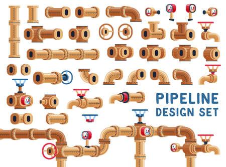 Establecer para el diseño de tuberías. Tuberías y válvulas. Ilustración de vector. Ilustración de vector