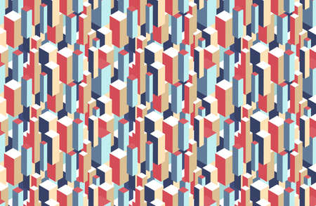 Geometric seamless pattern of 3d blocks. Color vector illustration.