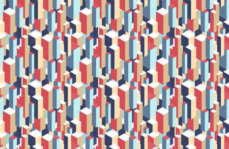 Geometric seamless pattern of 3d blocks. Color vector illustration.