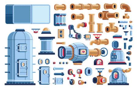Repuestos para máquinas industriales steampunk: tanques, equipos, dispositivos y tuberías. Ilustración de vector pseudo 3d.