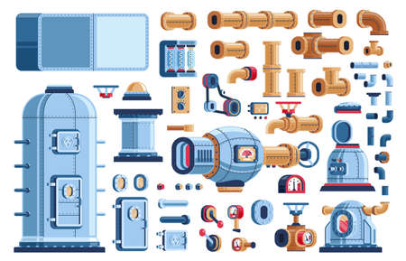 Spare parts for steampunk industrial machines - tanks, equipment, devices and pipes. Vector pseudo 3d illustration.