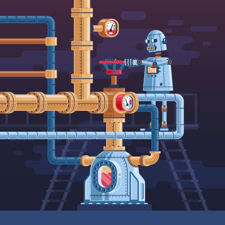 Der Roboter dreht das Ventil an der Rohrleitung. Steampunk-Vektor-Illustration.