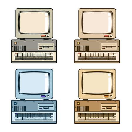 Ordinateur vintage rétro avec moniteur, lecteur et clavier. Illustration vectorielle. Vecteurs