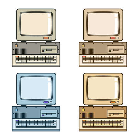 Retro vintage computer with monitor, drive and keyboard. Vector illustration.