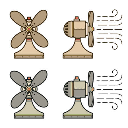 Old vintage fan side and front. Vector illustration.