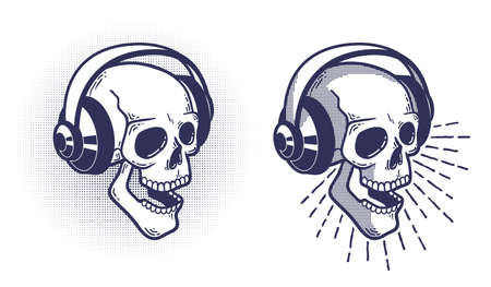 Skull in headphones. Retro stamp style. Pseudo 3d Vector layered illustration.