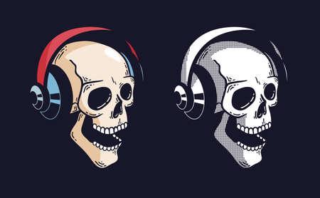 Crâne dans les écouteurs sur fond sombre, illustration vectorielle. Vecteurs