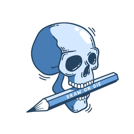 Skull with a pencil in his teeth. Figure in cartoon style. Vector illustration.