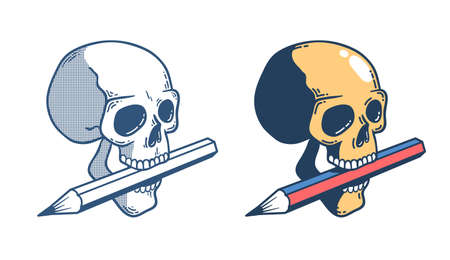Skull with a pencil