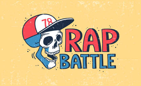 Rap battle with a skull in a baseball cap Stock Illustratie