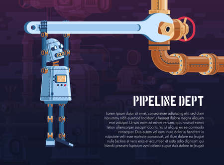 robot turns the valve on the pipeline with a wrench Stock Vector - 119509150