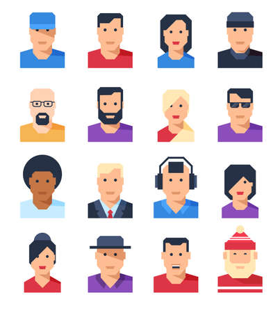 Set of flat avatars of people of men and women in different clothes. Vector illustration.