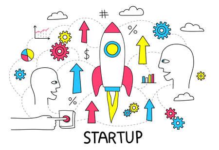 Startup doodle flowchart with a rocket taking off. Vector illustrtion.