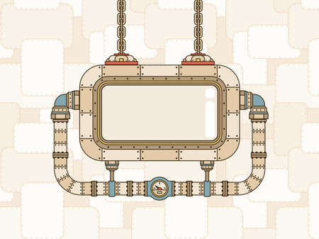 Steampunk apparatus with a display and pipeline. Vector template with space for text.