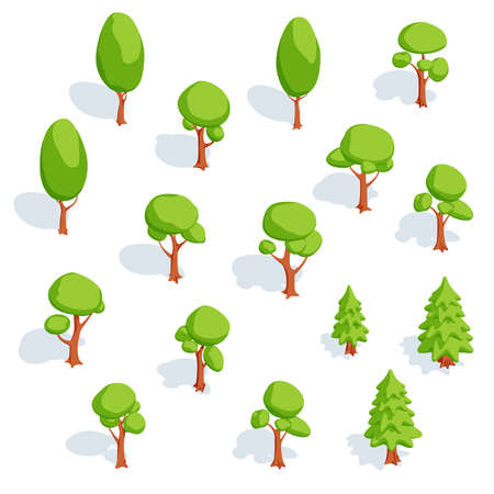 Set of isometric trees. Deciduous and spruce. Vector illustration.