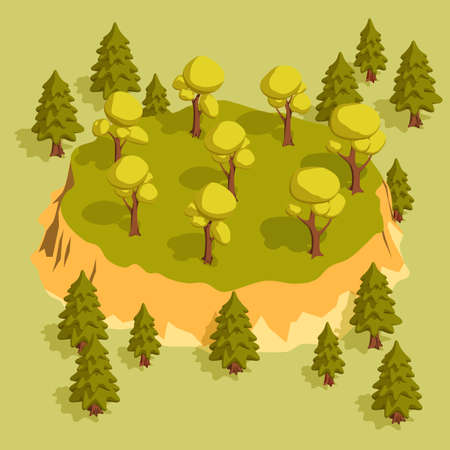 Forest area with trees and spruces and a slight elevation. Isometric 3d vector illustration.