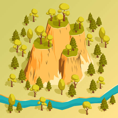 A cliff with ledges in a forest surrounded by trees and river. Isometric 3d vector illustration. Ilustração