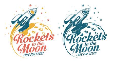 A rocket flying around the moon - vintage emblem poster print