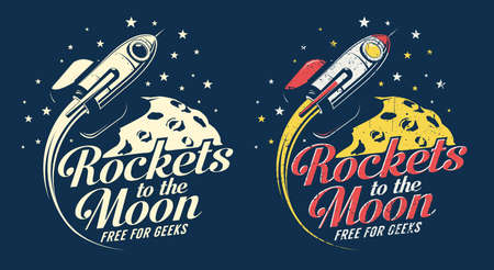 Space rocket flying around the planet with craters - retro emblem poster. Grunge worn textures on separate layer. Illustration