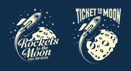 Moon posters with a flying rocket. Retro vintage stamp style. Vector illustration. Stock Vector - 119106937