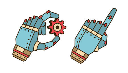 The hand of the robot holds the gear Illustration
