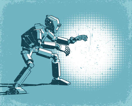 Humanoid robot and spot light - vintage retro poster