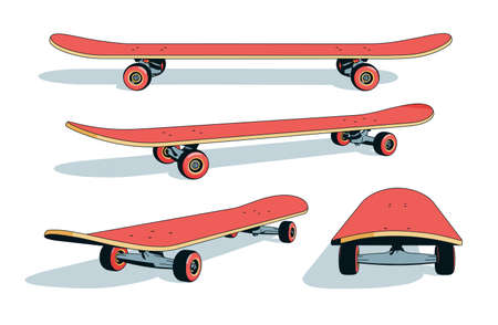 Realistic cartoon skateboard from different angles