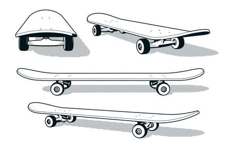 Skateboard in various angles - retro print style black and white vector illustration.