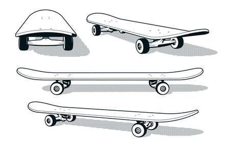 Skateboard sous différents angles - illustration vectorielle de style rétro imprimé noir et blanc. Vecteurs