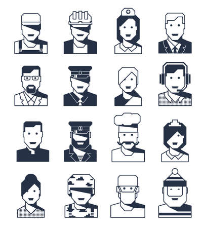 Portraits of people of different professions - a set of contour avatars